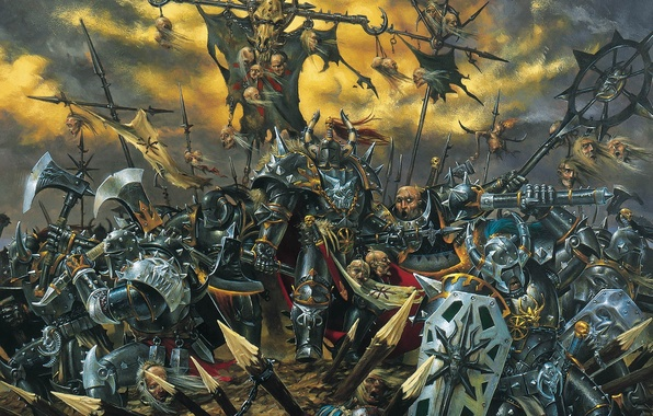 Картинка смерть, Хаос, битва, топор, Warhammer, частокол, хаоситы, Mark of Chaos, щиты, булава