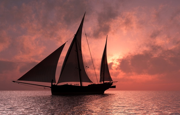 Фото обои горизонт, небо, зарево, паруса, корабль, тучи, море