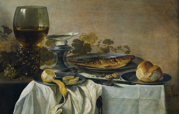 Картинка лимон, бокал, еда, рыба, картина, Натюрморт, Питер Клас