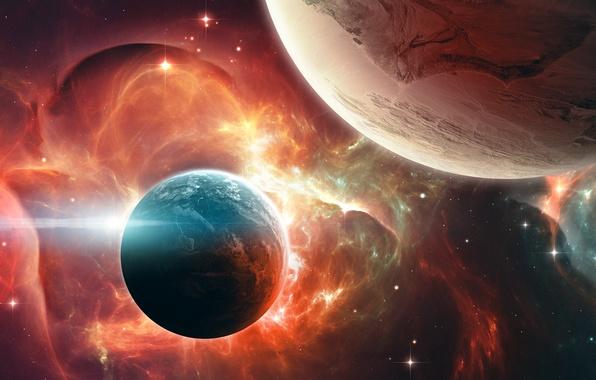 Картинка космос, туманность, планеты, art