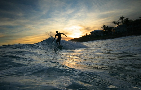 Картинка Вода, Волна, Серфинг, Мужчина