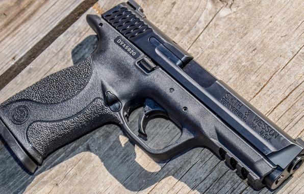 Картинка пистолет, оружие, фон, Smith & Wesson, Springfield, M&P