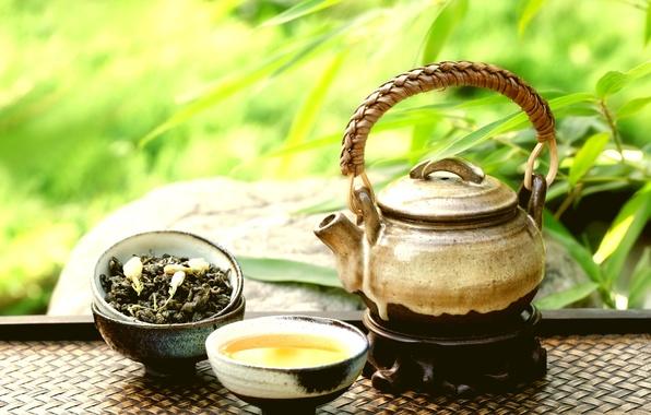 Картинка лепестки, чайник, чашки, восток, чайная, аромат, добавки, still life, глиняный, Teapot and cups on stone, ...