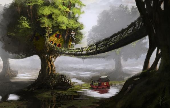 Картинка деревья, пейзаж, мост, река, корабль, дома, арт, хижины, кораблик
