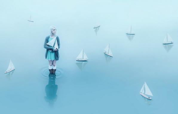 Картинка вода, девушка, кораблики