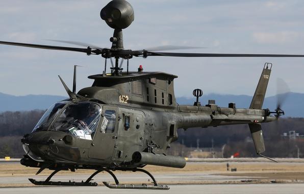 Картинка вертолёт, американский, многоцелевой, Bell, лёгкий, OH-58, Kiowa