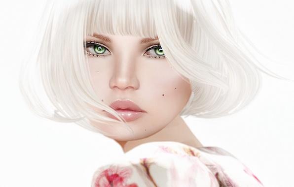 Картинка девушка, лицо, стрижка, портрет, прическа, блондинка