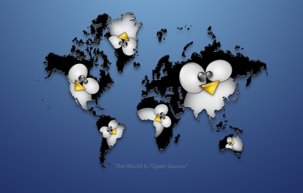 Картинка материки, пингвин, linux, карта мира