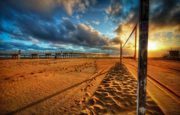 Картинка море, пляж, закат, мост