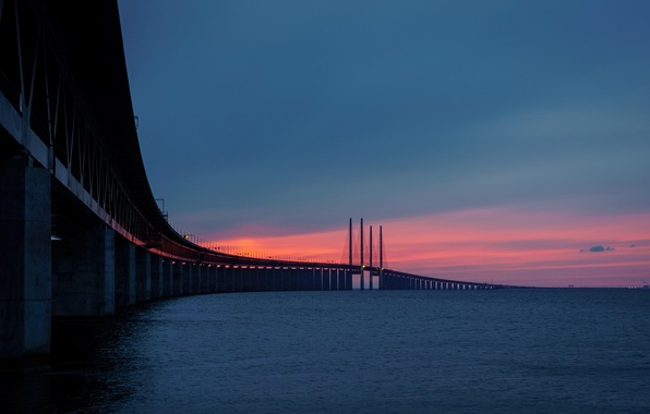 Картинка закат, мост, Sweden, Bunkeflostrand, Skane, Øresunds bridge