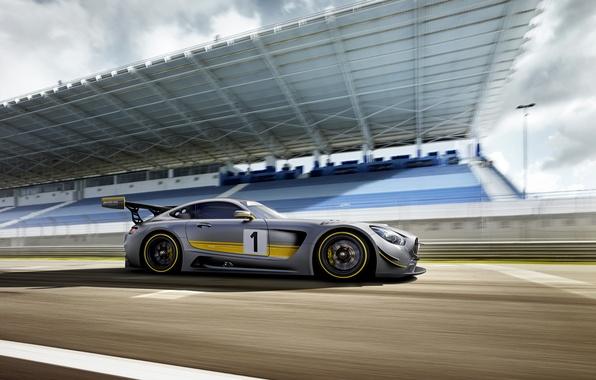 Картинка фото, Mercedes-Benz, Тюнинг, Автомобиль, AMG, GT3, Сбоку, 2015, Серебристый