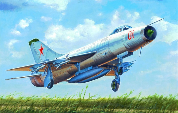 Картинка art, airplane, painting, aviation, jet, Soviet Su-9 Fishpot
