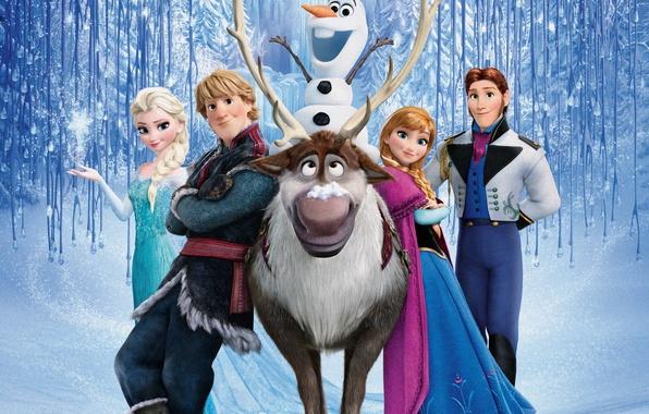 Картинка снег, снежинки, лёд, олень, снеговик, Frozen, принцесса, королевство, Анна, Королева, Anna, Walt Disney, анимация, Уолт …