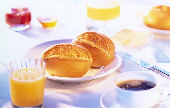 Картинка стол, кофе, еда, завтрак, утро, сок, булочки, сервировка