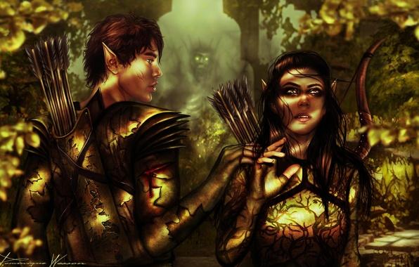 Картинка девушка, лук, арт, эльфы, парень, фэнтази, стрелы, лес. деревья