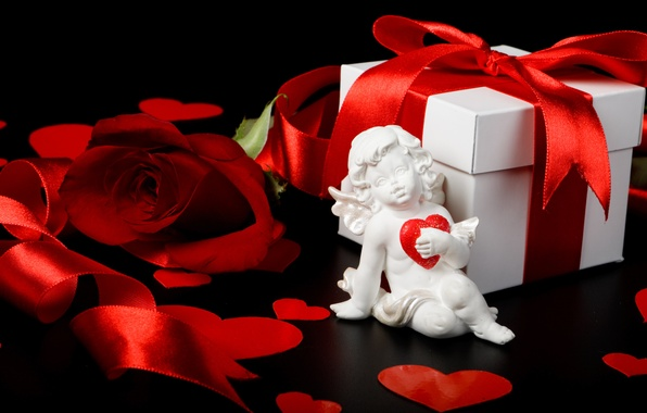 Картинка коробка, подарок, роза, лента, сердечки, red, rose, box, hearts, купидон, Valentine's day, День Святого Валентина, …