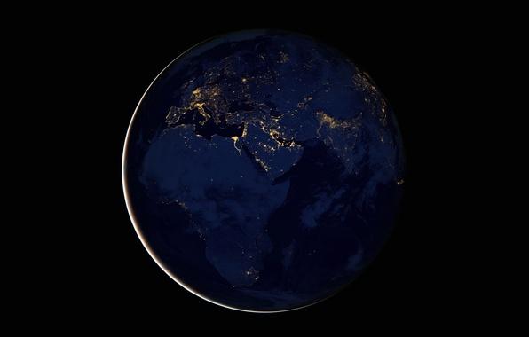 Картинка огни, планета, Земля, Африка, Евразия