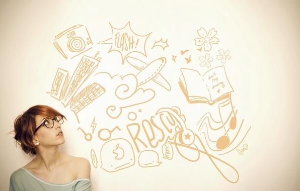 Картинка девушка, надписи, настроение, волосы, мысли, удивление, очки, рыжая, girl, mood