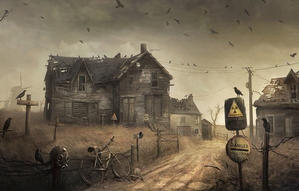 Фото обои дом, забор, радиация, мельница, вороны, опасная зона
