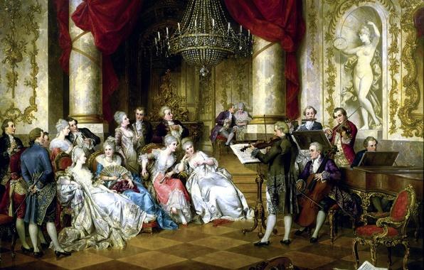 Картинка ноты, дамы, скрипка, картина, Австрия, рояль, люстра, статуя, Концерт, флейта, дворец, холл, музыканты, violin, Austria, …