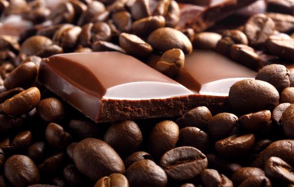 Картинка кофе, еда, шоколад, зерна, дольки, сладкое