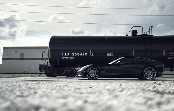 Картинка чёрный, Corvette, Chevrolet, профиль, wheels, шевроле, диски, black, Stingray, корветт, цистерна