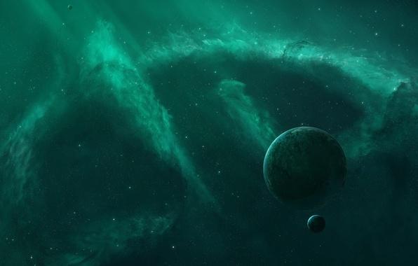 Картинка пустота, космос, звезды, туманность, сияние, фон, widescreen, обои, планеты, space, wallpaper, бездна, nebula, широкоформатные, background, …