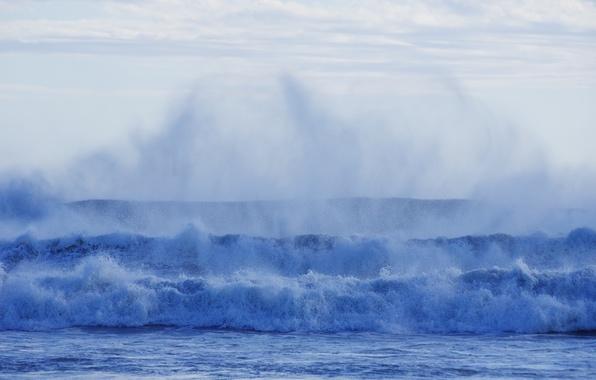 Картинка море, волны, пена, вода, брызги, синий, стихия, берег, прибой