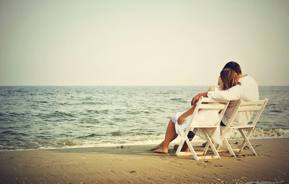 Картинка пляж, океан, романтика, двое, romantic couple on beach