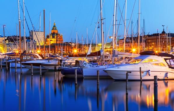 Картинка яхты, порт, ночной город, гавань, Финляндия, Finland, Хельсинки, Helsinki
