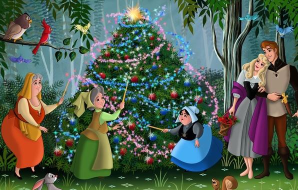 Картинка лес, птицы, мультфильм, сказка, Роза, Новый Год, Рождество, Аврора, принц, ёлка, forest, Christmas, друзья, принцесса, …
