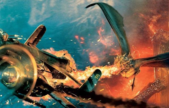 Картинка полет, самолет, замок, огонь, пламя, дракон, фэнтези, битва, сражение, Запрещенный прием, Sucker Punch
