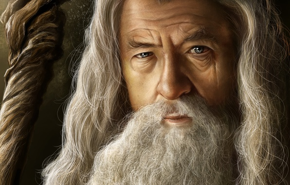 Картинка серый, властелин колец, арт, маг, старик, посох, борода, lord of the rings, Gandalf, Гэндальф