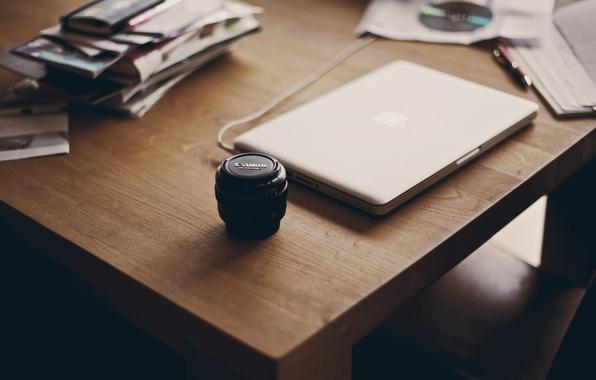 Картинка apple, ноутбук, canon, cтол