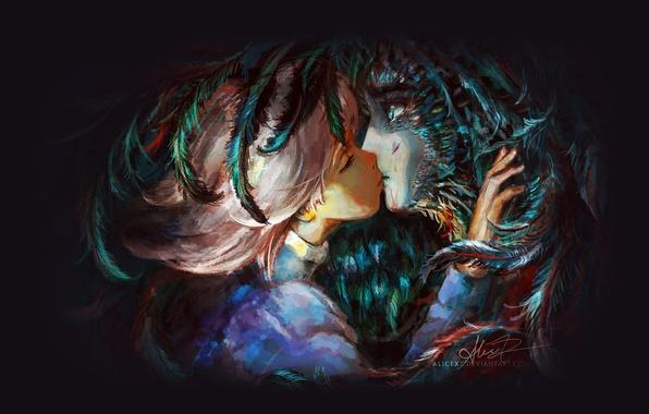 Картинка поцелуй, перья, Хаяо Миядзаки, art, Hayao Miyazaki, Ходячий замок Хаула, Howl's Moving Castle, Howl, Sophie …