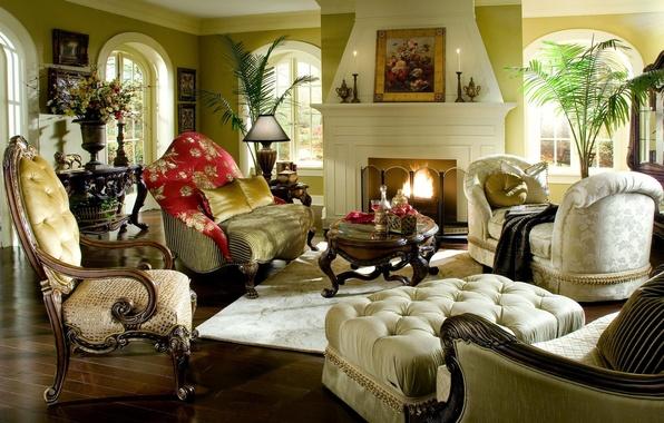 Картинка цветы, дизайн, стиль, стол, комната, диван, огонь, интерьер, картина, кресло, подушки, стул, камин