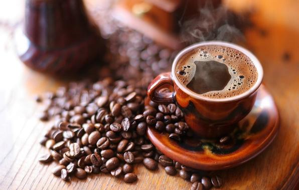Картинка кофе, кружка, напиток, кофейные зёрна, блюдце, пенка, дымок