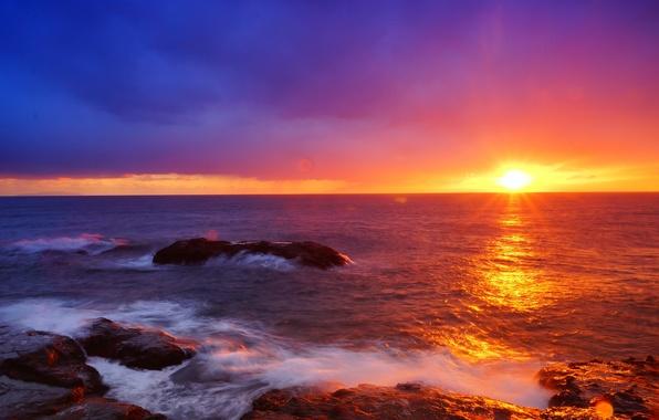 Картинка Japan, Sky, Beautiful, Landscape, Sun, Water, Sunset, Sea, Waves