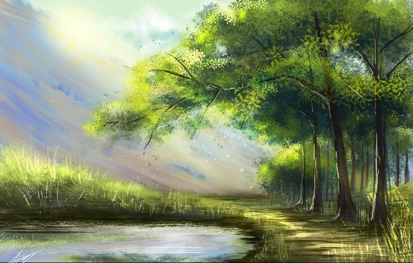 Картинка лес, лучи, деревья, пейзаж, природа, озеро, арт, живопись