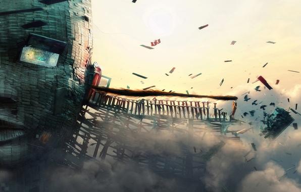 Картинка лампочка, девушка, птицы, мост, дом, ветер, сюрреализм, волосы, доски, голова, дверь, окно, арт, ураган, вороны, …