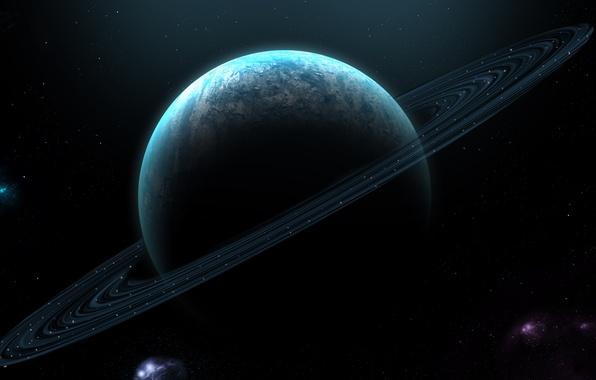 Картинка космос, звезды, планета, кольца, атмосфера, туманности, планетарные