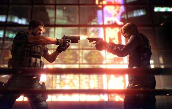Фото обои обитель зла 6, Крис, оружие, Леон, пушки, Resident Evil 6