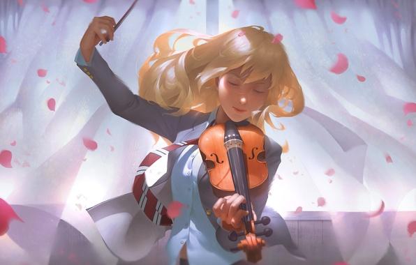 Картинка девушка, музыка, скрипка, лепестки, арт, блондинка, галстук