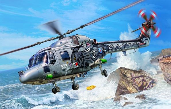 Картинка волны, скалы, рисунок, вертолёт, британский, многоцелевой, шлюпка, Michal Reinis, Королевские ВМС, Westland Lynx, HAS.3