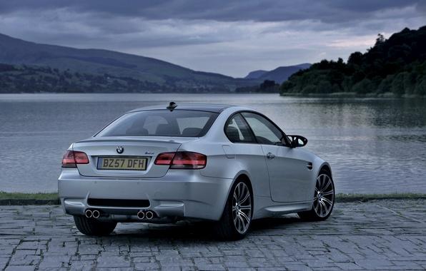 Картинка Авто, Озеро, BMW, Бумер, Серый, Номер, Coupe, Пасмурно