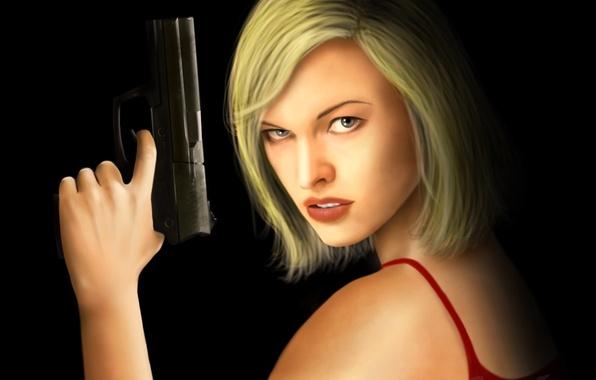 Картинка взгляд, девушка, пистолет, стрижка, черный фон, Resident Evil, Milla Jovovich, Alice