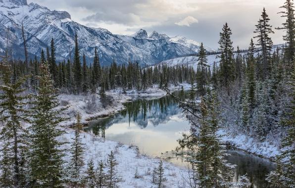 Картинка зима, лес, деревья, горы, озеро, Канада, Альберта, Alberta, Canada, Jasper National Park, Национальный парк Джаспер, …