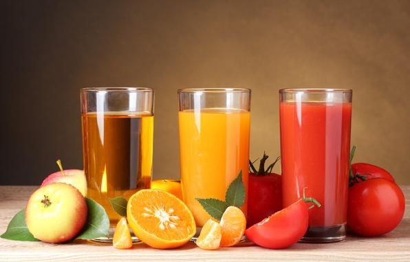 Картинка яблоки, апельсины, стаканы, фрукты, овощи, помидоры, соки, апельсиновый, томатный, яблочный
