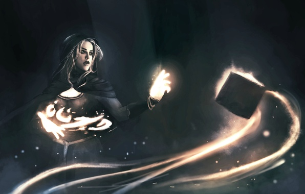 Картинка взгляд, девушка, фантастика, огонь, магия, арт, книга