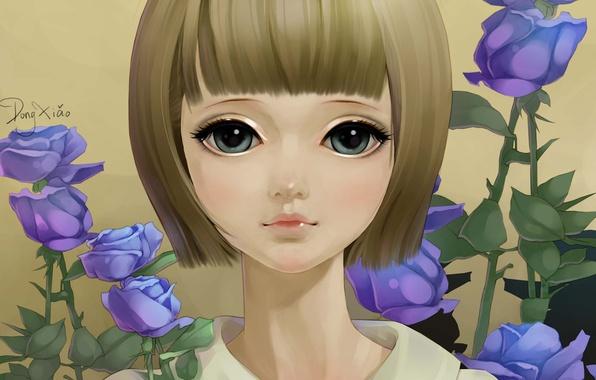 Картинка цветы, лицо, портрет, розы, арт, девочка, сиреневые, dong xiao